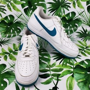 Nike Air Force Ones 488298 White Teal Size 15